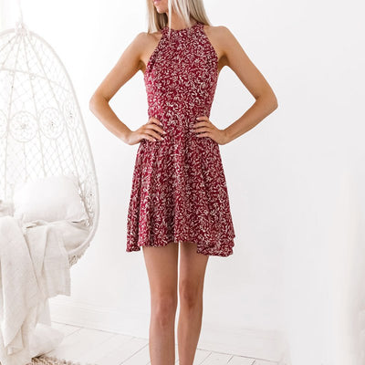 Sexy Evening Party Backless Dress Women Spaghetti Strap Floral Print Beach Style A Line Mini Dress Boho Floral Dresses Clothes