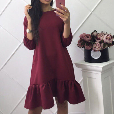 Sexy Fashion Sweet Women Girls Long Sleeve Loose Mini A-Line Winter Dress Evening Party Black Red Khaki