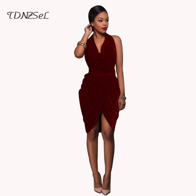 Sexy Halter Velvet Backless Dress Women Sleeveless Deep V Cross Hem Solid Knee Length Elegant Dresses Evening Party Nightclub