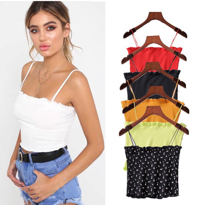 Sexy Knitted Top Camis Floral Printed Cotton Spaghetti Straps Women Tops Sleeveless Top Tanks Summer Beach T-Shirt