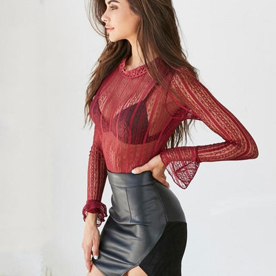 Sexy Lace Black Blouse Women 2019 Transparent Long Sleeves Black Red Blouse shirt Elegant Lace Blusas Tops