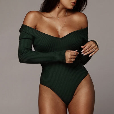Sexy Off Shoulder Bodysuit Women V Neck Spring Autumn Bodysuit Rompers Long Sleeve Womens Jumpsuit Knitted Basic Bodysuits
