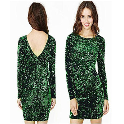 Sexy Sequin Dress Women Sexy Club Dresses Slim Fit Backless Party Nightclub Mini Vintage Dress 327