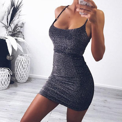 Sexy Slim Fit Sleeveless Bandage Cocktail Party Spaghetti Strap Sheath Backless Solid Club Women Dress Shiny Beach