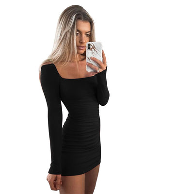 Sexy Slim Mini Dress Women Autumn Square Neck Solid Color Package Hip Dress Fashion Casual Long Sleeve Backless Dresses
