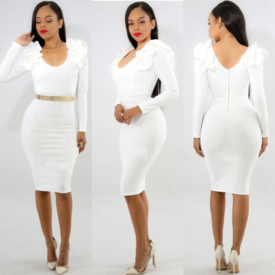 Sexy Slim Women Bodycon Dress Winter Backless Vestido O-neck Party Dress Fashion Elegant Long Sleeve Flower Bandage Dress WLD116