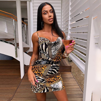 Sexy Spaghetti Strap Backless Dress Women New Spring Summer Leopard Print Bodycon Slim Mini Dresses