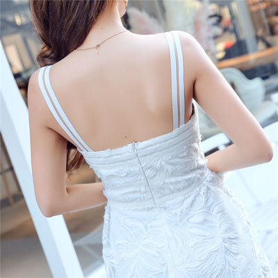 Sexy Spaghetti Strap White Lace Dress Women Summer Flower Embroidery Sleeveless Backless Elegant Party Maxi Long Dress Vestidos