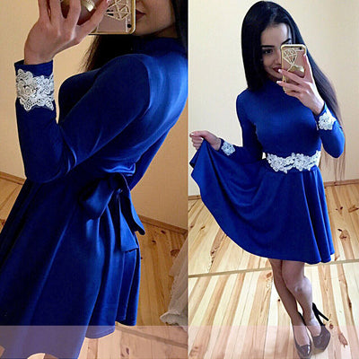 Sexy Stand Collar Lace Stitching A-Line Dress Women Autumn Sashes Slim Long Sleeve Dress Club Party Mini Dresses