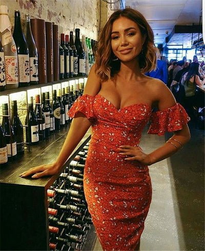 Sexy Strapless Off Shoulder Ladies Bodycon Party Dresses Women Summer Backless Print Orange Club Bandage Pencil Dress