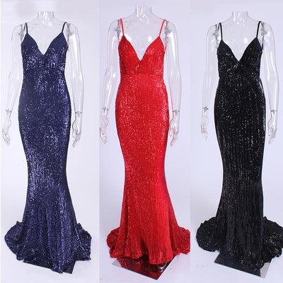 Sexy Stretch Silver Sequin Maxi Dress Hollow Out Floor Length Summer Party Dress Padded V Neck Backless Mermaid Dress