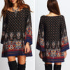 Sexy Summer Boho Beach Mini Dress Women Ethnic Hippie Long Sleeve Loose Blouse