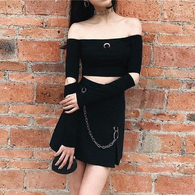 Sexy T Shirts Women Long Sleeve Strapless Chic Crescent Pattern Short Cute Crop Top Off Shoulder Slim Gothic Tee For Girls