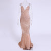 Sexy V Neck Champagne Gold Sequined Maxi Dress Floor Length Party Dress Sleeveless Strapless Backless Evening Mermaid Dress