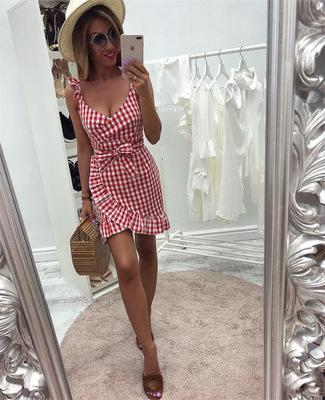 Sexy V-neck Irregular Ruffles Backless Plaid Summer Dress Sundress Wrap Mini Dresses For Women Vestidos