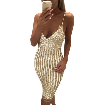Sexy Vestidos Summer Party Dresses Women Cocktail Deep V Golden Sequins Bodycon Backless Dresses Large Size Dress