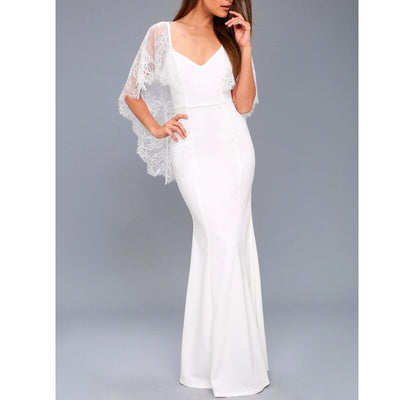 Sexy White Lace Dress Women V-Neck Half Sleeve Bodycon Dress Long Maxi Evening Party Dress Backless Slim Vestidos