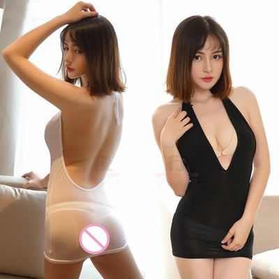 Sexy Women Backless Halter MINI Dress Ice Silk Smooth Transparent Dress Deep V Neck See Through Sexy Nightclubs Dance Dress F15