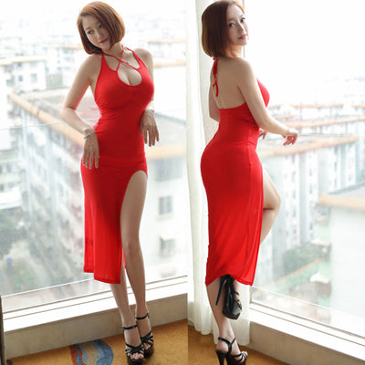 Sexy Women Hollow Out Lace Up Milk Ice Silk Smooth Elastic Nightclub High Cut Dress Backless See Through Club Dance Wear F42