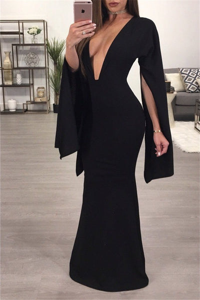 Sexy Women Lady Long Split Sleeve Deep V-neck Dress Bodycon Slim Backless Party Formal Solid Black Long Maxi Dress Sundress New