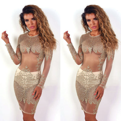 Sexy Women See through Mesh Dresses Gold Bandage Bodycon Long Sleeve Party Cocktail Club Mini Dress
