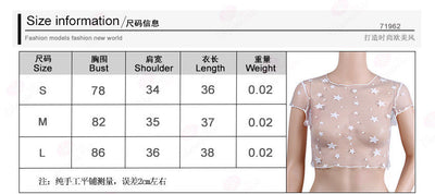 Sexy Women See through T shirt Fashion Mesh Crop Top camisetas femininas Short Sleeve Stars Tee T Shirt Tops Ladies Hot Clubwear