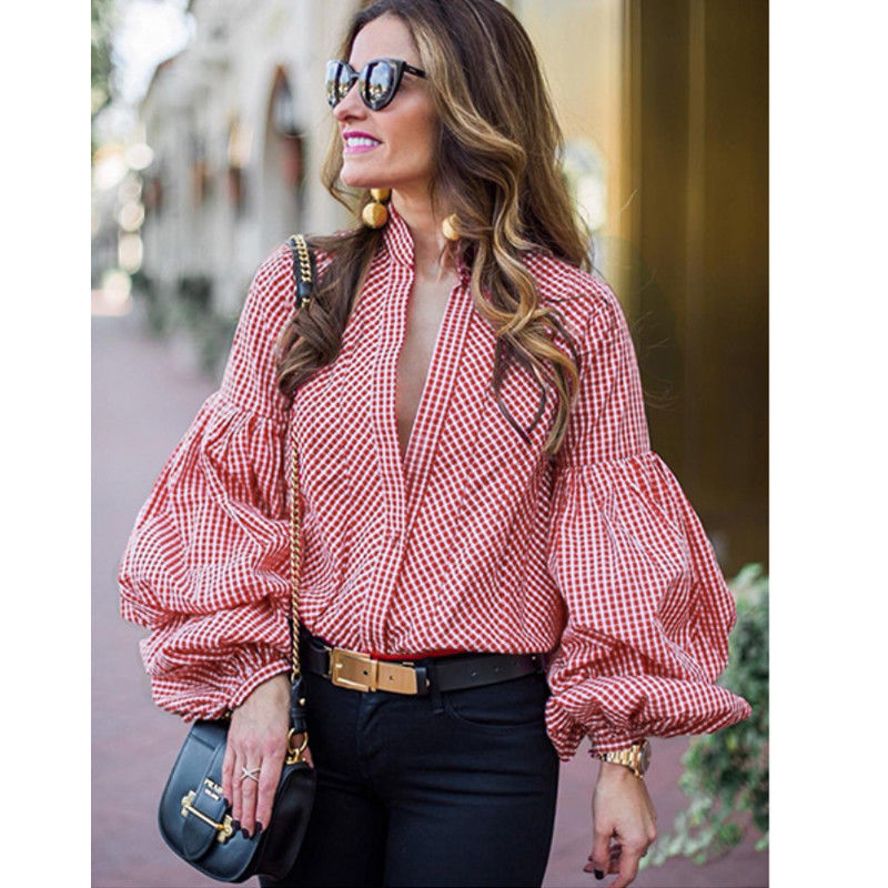 fa1bb584fb4901 Sexy Women Summer Autumn Top Long puff sleeve Top Donna Ladies plaid Blouse  Fashion party casual