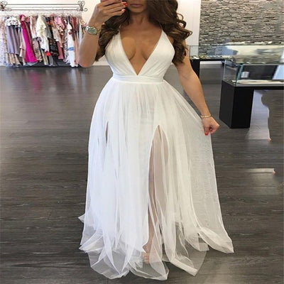 Sexy Women Summer Party Lace Vestidos Tutu Dress Jumper Ladies V-Neck Backless Maxi Long Tulle Dresses Bandage Dress Sundress