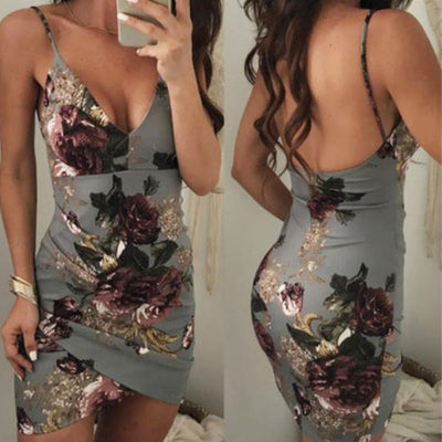 Sexy Womens Sleeveless Dress Floral Strappy V Neck Vestido Bodycon Evening Party Clubwear Short Mini Dress Fashion