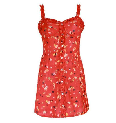Sexy Wood ears Floral Print Mini Short Red Dress New Woman Single-breasted Button V neck Backless Spaghetti Strap Vestidos
