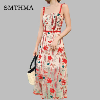 Sexy backless Dress Women High Waist Sleeveless Strap Hollow Out Mesh embroidery flowers Dresses Summer Fashion Runway Dress