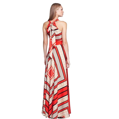 Sexy halter backless print dress women Eastic waist boho long dress Tie up summer dress beach maxi dress