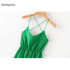 SheMujerSky Women Green Midi Summer Dress Spaghetti Strap Bodycon Backless Bandage Dresses vestidos largos de verano Casual
