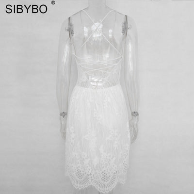 Sibybo Backless Spaghetti Strap Sexy Lace Dress Women Sleeveless V-Neck Loose Summer Dress Cotton Black Elegant Party Dresses