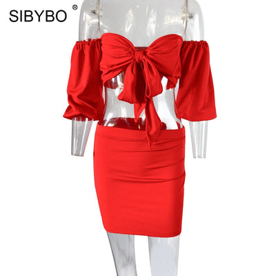 Sibybo Bow Tie Strapless Sexy Two Piece Set Dress Women V-Neck Sheath Empire Mini Women Bodycon Dress Backless Nightclub Dress