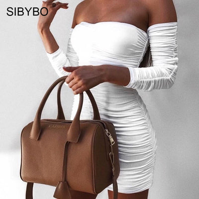 Sibybo Off Shoulder Strapless Sexy Bodycon Dress Autumn Winter Long Sleeve Sheath Club Party Dresses Short Backless Mini Dress