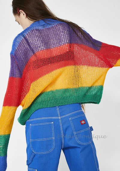Simenual Big size rainbow women sweaters and pullovers autumn knitted clothing fashion transparent sexy hot jumper pull new
