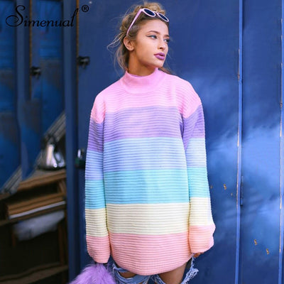 Simenual Macaron colorful turtleneck long sweater knitwear fashion pullover female cute slim sweaters women winter hot