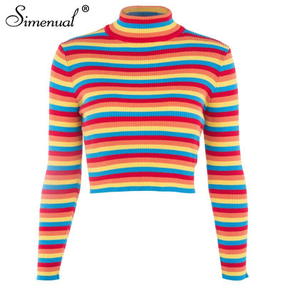 Simenual Rainbow stripes sweater jumper knitwear fashion slim sexy women turtlenecks sweaters and pullovers colorful pull