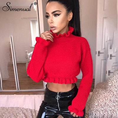 Simenual Ruffles women's turtlenecks sweaters autumn winter 2019 knitted clothing fashion sexy crop lady's sweater pullover sale