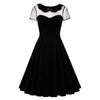 Sisjuly Summer Female Party Dress Solid Black Dresses Sexy Hollow Out Vintage Gothic Dress Summer Peter Pan Collar Dresses
