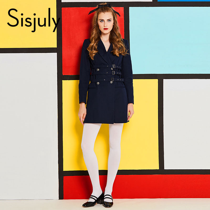 51dbc3bc13 Sisjuly 60s vintage dresses autumn female girdle Blazer long sleeve Lapel  belt notched dark blue retro
