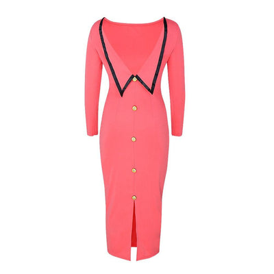 Vintage Bodycon Pencil Dresses Women Autumn Pink Sweet Bandage Party Elegant Fashion Lady Backless Split Sexy Maxi Dress