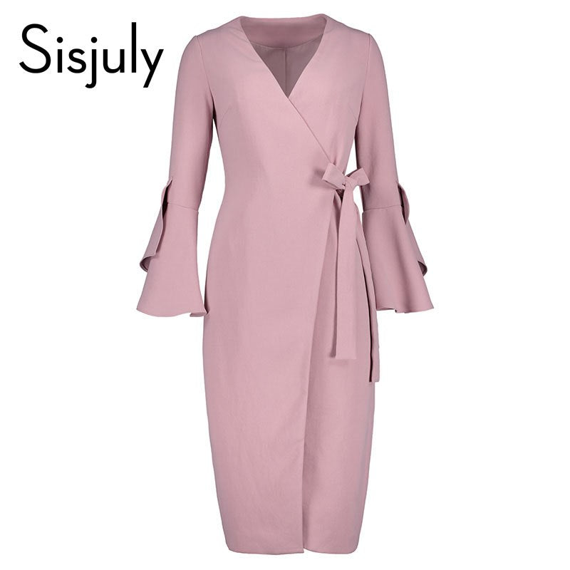 9507d95090d07 Sisjuly women dress spring autumn slim pink elegant pencil dress girls  flare long sleeve lace-up bowknot vintage bodycon dress