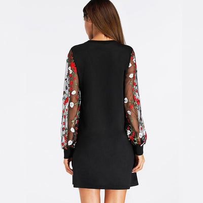 Sleeve Floral Print Dress Black Summer Dress New Fashion Womens Dresses Sexy Long Sleeve Elegant Shift Dress