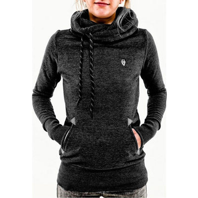 Slim Casual Stylish Women Hoodie Pullover Solid Length Sweatshirt Hip Top Long Sleeve Hooded Party Pocket Ladies Sports