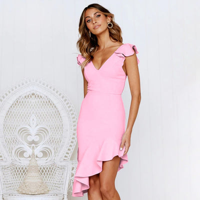 Slim Sexy Backless Dress Women Sleeveless Party Summer Dress Female Hollow Out Ruffles Pencil Dresses Women Spring Party Dress