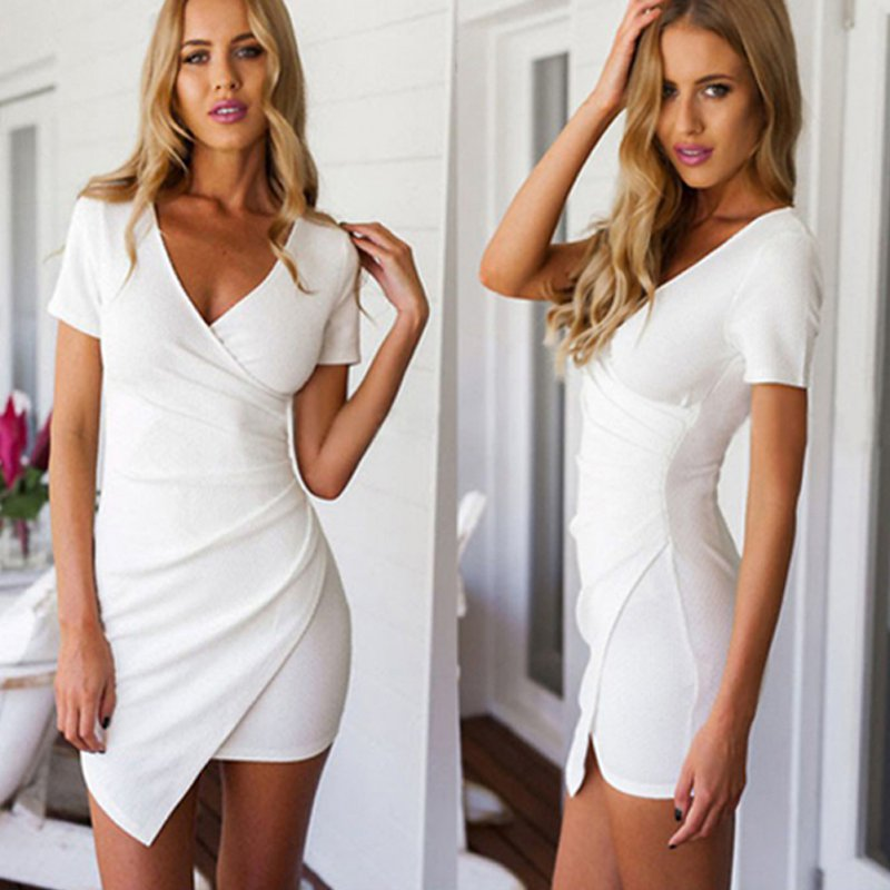 Solid Party Dresses Sexy Vestidos White Black Women Summer V-neck Mini  Dress Bodycon Short 27a7301d92fe