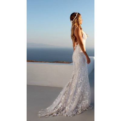 Spaghetti Strap Sexy Lace Party Dress Women Bodycon Bandage Floor-Length Long White Dress Ladies Backless Elegant Summer Dress