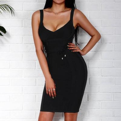 Spaghetti Strap Women Bandage Dress Summer Sexy Celebrity Party Dress Club Wear Bodycon Backless Dress White Red Black Pink